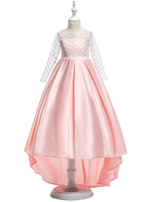 In Stock:Ship in 48 Hours Pink Satin Long Sleeve Flower Girl Dress