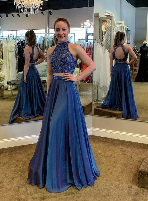Blue Two Piece Satin Halter Backless Prom Dress With Beading