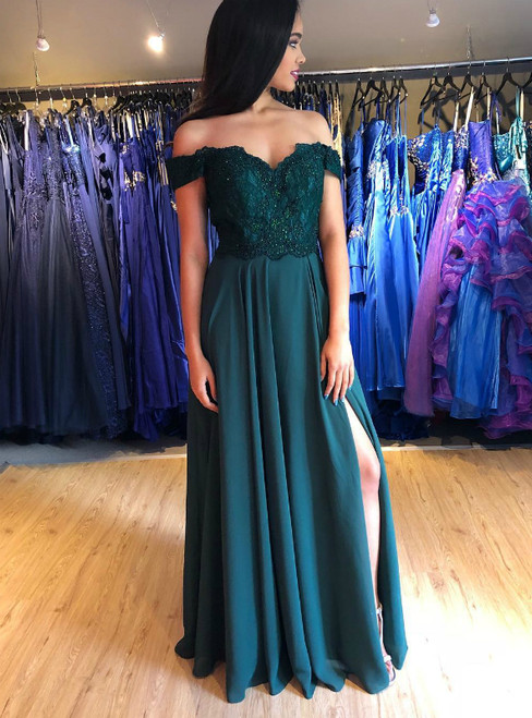 A-Line Green Satin Off the Shoulder Appliques Prom Dress With Side Split