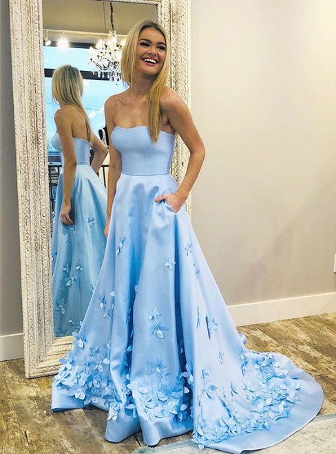 A-Line Sweetheart Sky Blue 3D Floral Applique Long Prom Dresses With Pocket