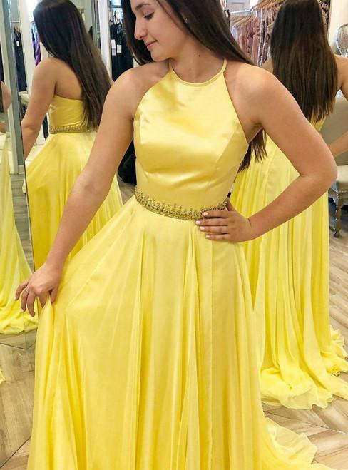 A-Line Yellow Chiffon Halter Long Prom Dress With Beading Belt