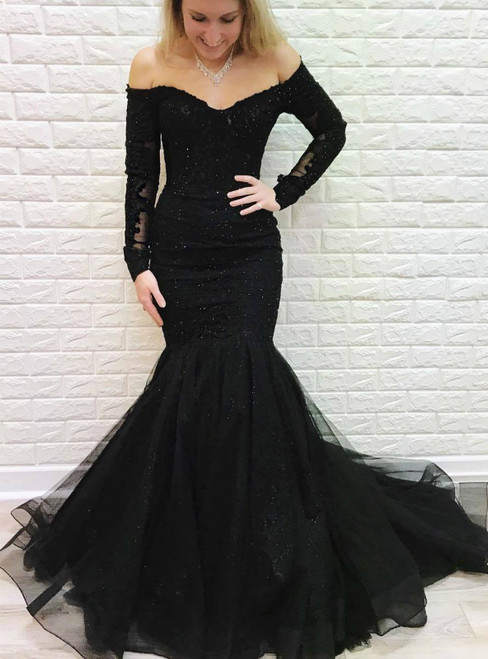Black Mermaid Off the Shoulder Long Sleeves Lace Prom Dress with Beading