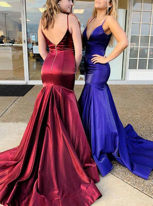 Simple Mermaid Spaghetti Straps Satin Long Prom Dress