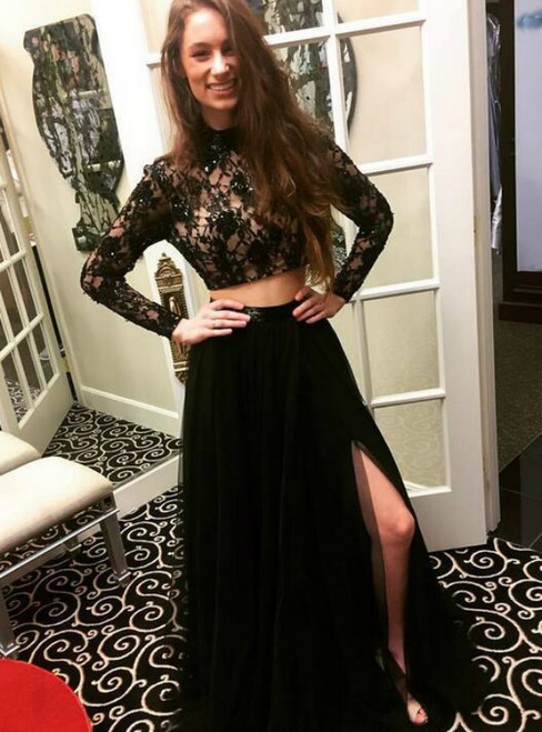 Black Two Piece High Neck Long Sleeve Lace Appliques Tulle Prom Dress
