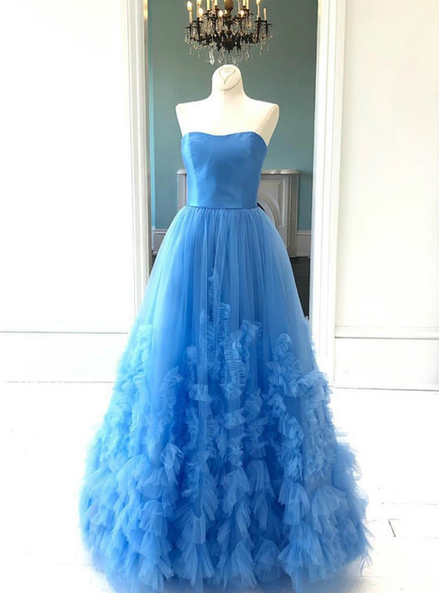 A-Line Blue Tulle Strapless Formal Gowns Prom Dress
