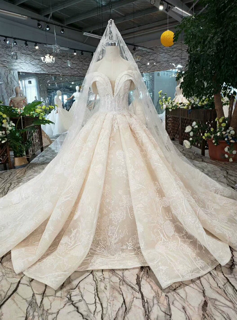 Champagne Ball Gown Tulle Lace Off the Shoulder Beading Wedding Dress