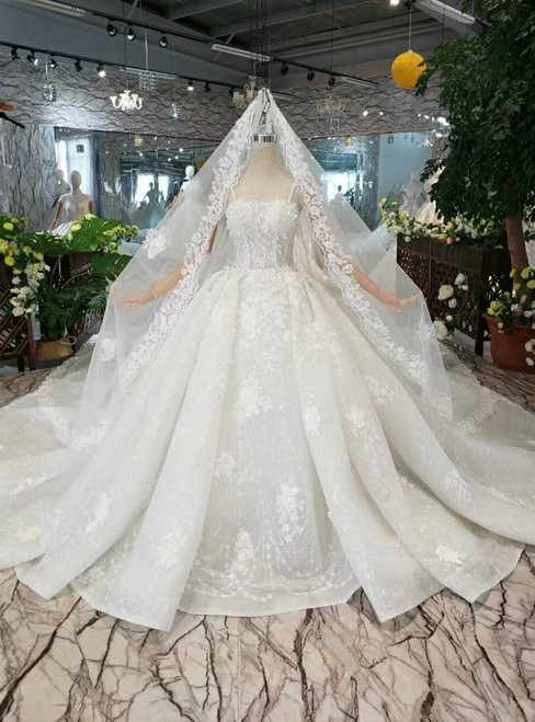 Light Champagne Tulle Appliques Spaghetti Straps Wedding Dress With Long Train