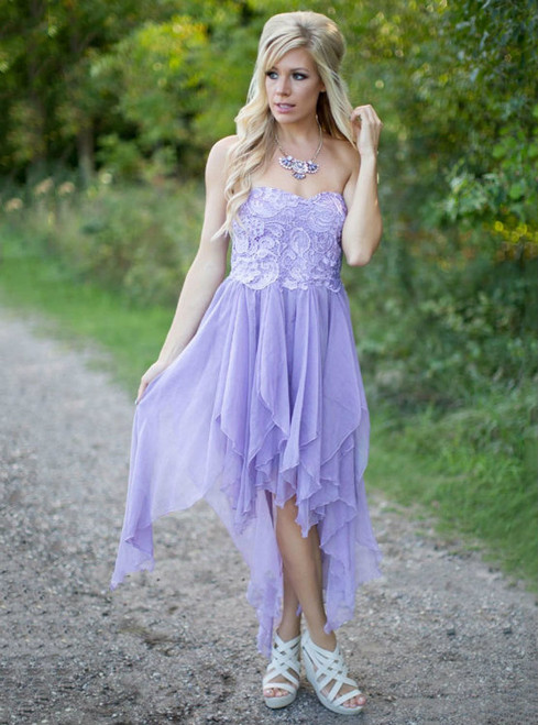 Lilac Sweetheart Lace Appliques Bridesmaid Dress