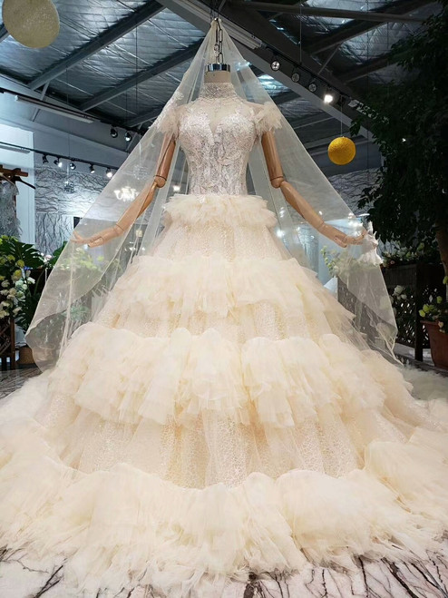 Champagne Ball Gown Lace Tulle Appliques High Neck Wedding Dress With Beading