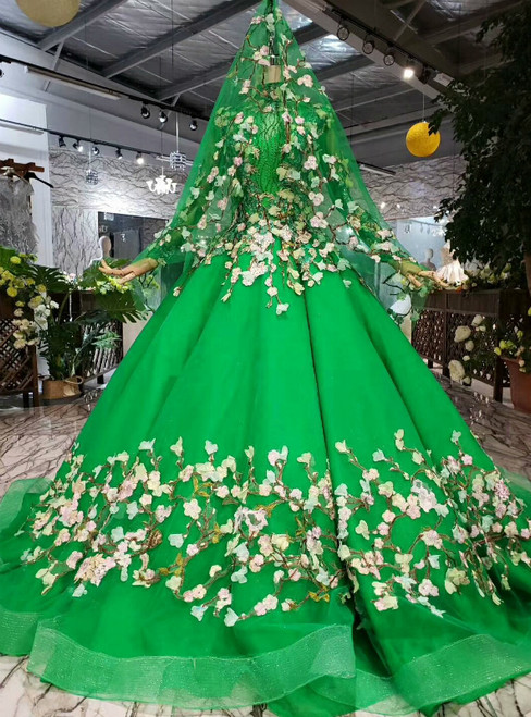 Green Tulle Appliques High Neck Long Sleeve Beading Color Dress