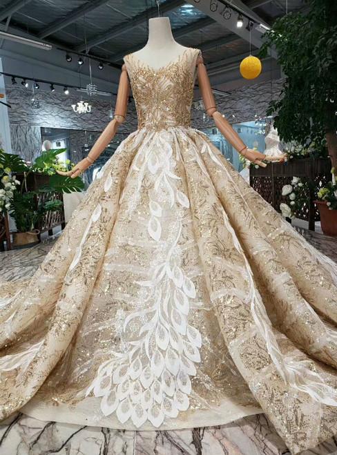 Champagne Gold Sequins V-neck Appliques Beading Wedding Dress