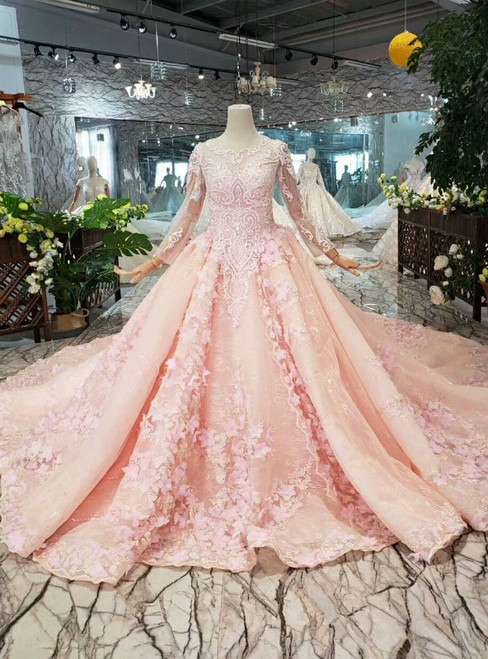 Pink Ball Gown Tulle Appliques Long Sleeve Wedding Dress With Long Train