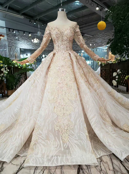 690152c34b2e0 Luxury Champagne Tulle Appliques Long Sleeve Beading Weddign Dress With Removable  Train