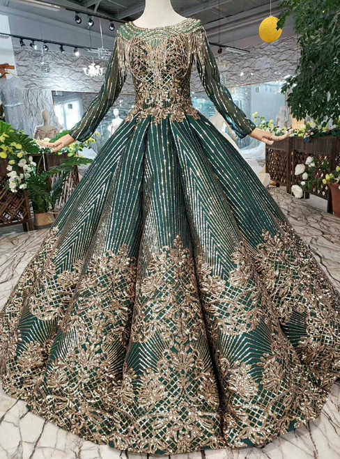 Green Ball Gown Sequins Long Sleeve Backless Beading Formal Dress