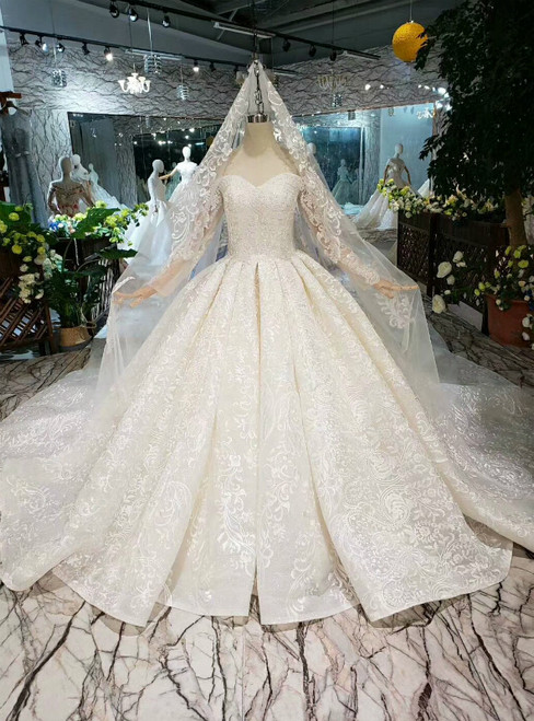 Champagne Tulle Lace Off the Shoulder Long Sleeve Wedding Dress With Beading