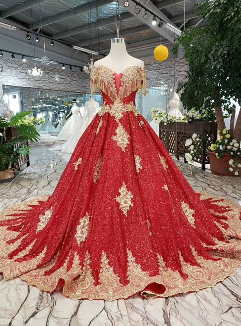 Red Sequins Off the Shoulder Appliques Beading Wedding Dress