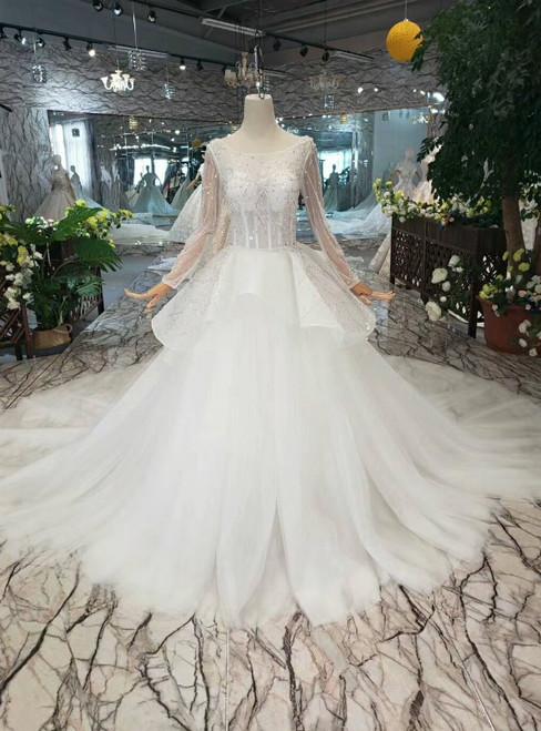 Ivory White Tulle Long Sleeve Backless Sequins Bateau Wedding Dress