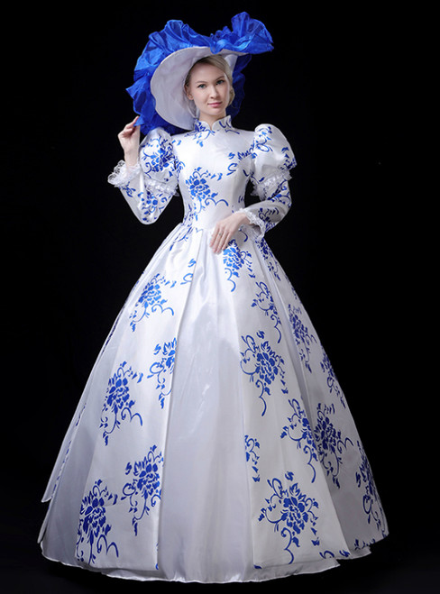 White Blue And White Porcelain High Neck Long Sleeve Vintage Gown Dress