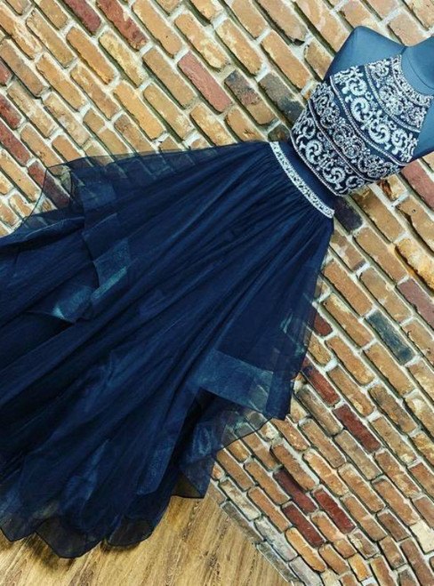 Navy Blue Beaded Two Piece Tulle Halter Long Prom Dresses