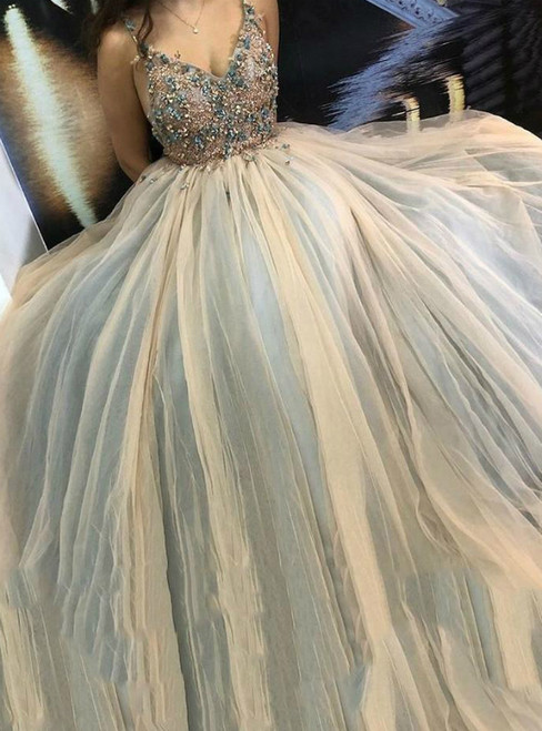 Spaghetti Straps Tulle Prom Dress with Appliques Beading Long Evening Gown