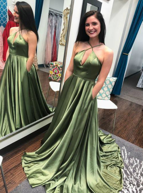 A-Line Green Satin Halter Keyhole Prom Dress With Pocket