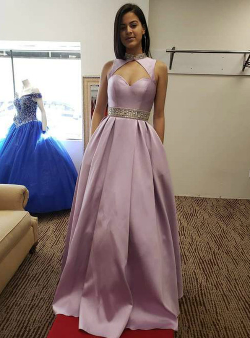 A-Line Purple Satin High Neck Beading Prom Dress With Pocket