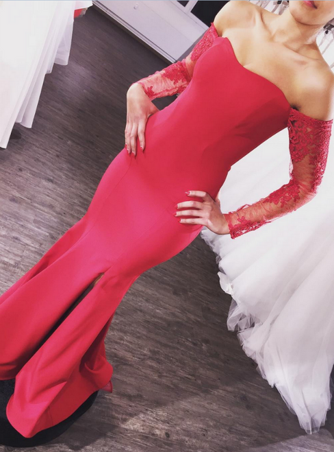 Red Mermaid Satin Off the Shoulder Long Sleeve Prom Dress