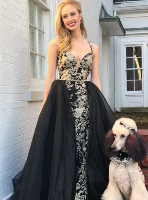 Sheath Spaghetti Straps Appliques Black Over Skirt Prom Dress
