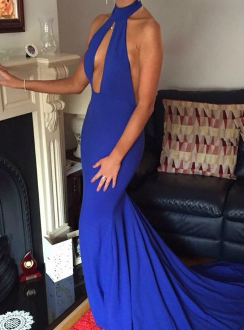 Royal Blue Mermaid Satin Halter Cut Out Backless Prom Dress