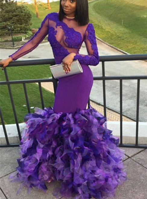 Purple Mermaid Long Sleeve Appliques Tulle Prom Dress