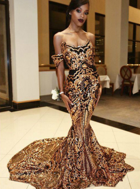 Gold Sequins Mermaid Off The Shoulder Prom Dresses Evening Gowns