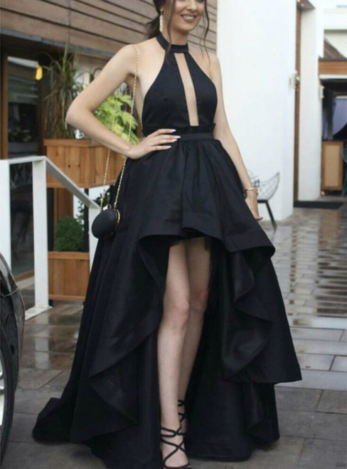 Elegant Black Satin Halter Hi Lo Cut Out Sleeveless Prom Dress