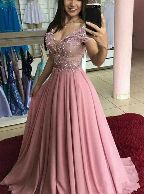 A-Line Pink Chiffon Off the Shoulder Appliques Prom Dress