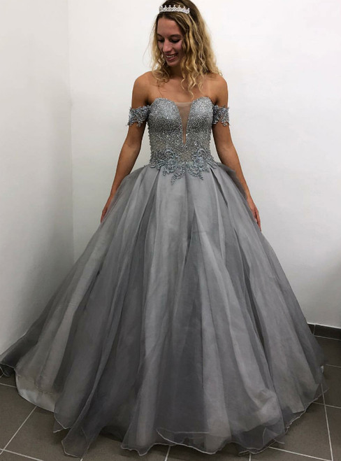 Gray Ball Gown Tulle Off the Shoulder Beading Prom Dress
