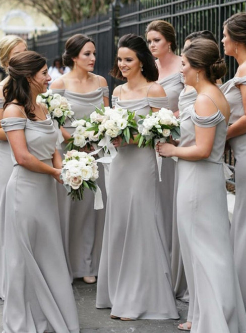 Light Gray Chiffon Spaghetti Straps Long Bridesmaid Dress