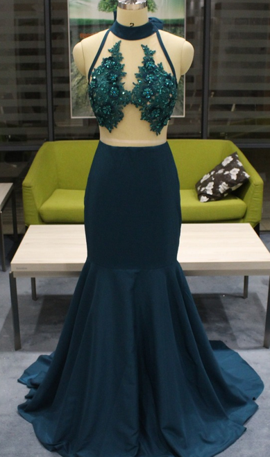 Green Mermaid Satin High Neck See Through Back Appliques Prom Dress