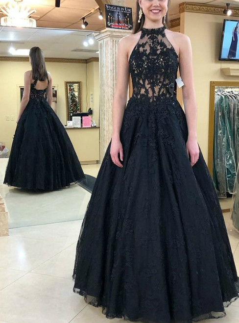 Black Tulle Lace Appliques Halter Backless Prom Dress