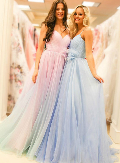 A-Line Tulle Spaghetti Straps Pleats Blue Pink Prom Dress