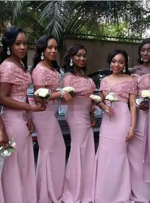 1377890884fc 2017 Dusty Pink Mermaid Bridesmaid Dresses Off Shoulder Arabic Lace  Appliques Backless