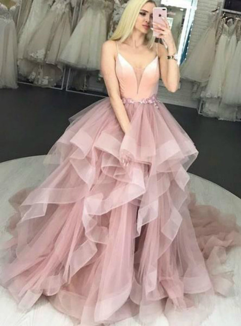 Elegant Pink V neck Ruffles Straps Tulle Long Prom Dress
