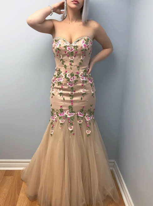 Tulle Champagne Mermaid Prom Dress with Handemade Embroidery Flower