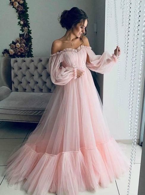 Pink Tulle Long Sleeve Off the Shoulder Pleats Prom Dress