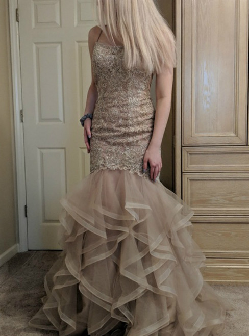 Champagne Mermaid Tulle Lace Spaghetti Straps Backless Prom Dress