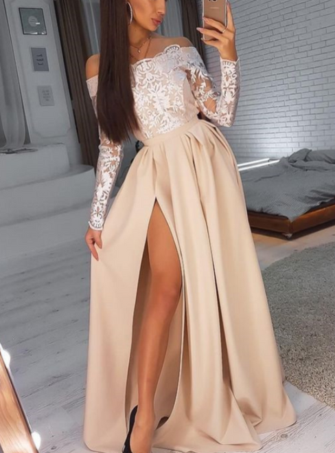 Champagne Satin Off-Shoulder Long Sleeves Prom Dress With Split