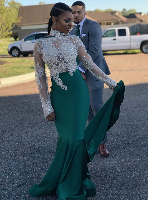 Green Mermaid Satin High Neck Long Sleeve Appliques Prom Dress