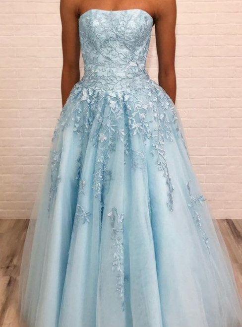3bcf3cb2 A Line Strapless Light Blue Long Prom Dress With Appliques