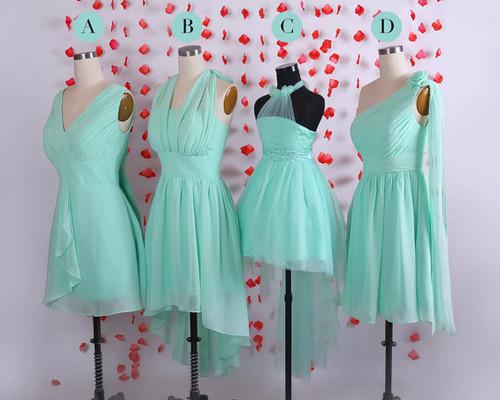 Simple bridesmaid dresses  Mint bridesmaid dress  Short chiffon bridesmaid dresses