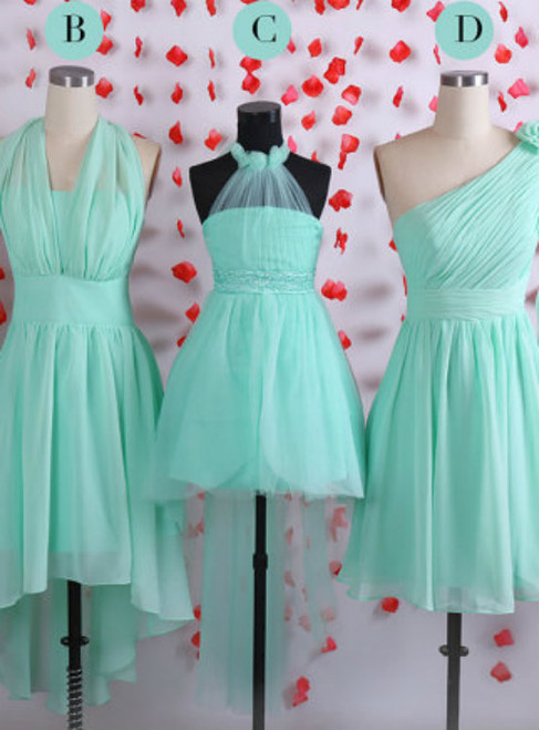 Simple bridesmaid dresses  Mint bridesmaid dress  Short chiffon bridesmaid dresses