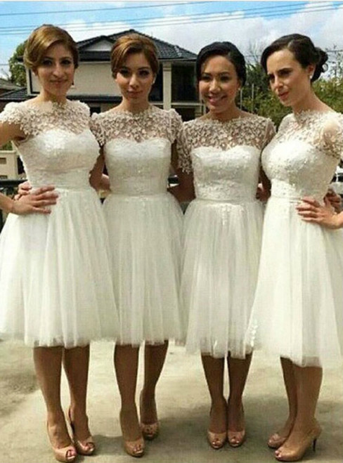 Knee Length Lace Bridesmaid Dresses for Wedding Short Damigella Bridesmaid Dresses