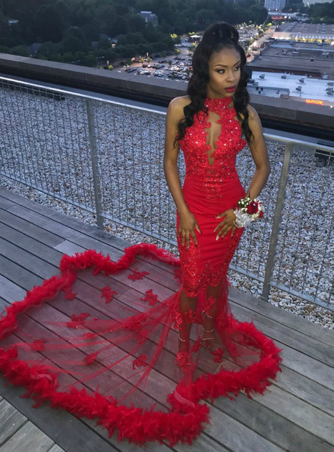 Sexy Mermaid Tulle Appliques High Neck Prom Dress With Crystal